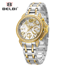 Fashion Imitation Mechanical Women's Watches Alloy Quartz-Battery Ladies Clock Top Diamond Famous China Hodinky Lady Brand BELBI(China)