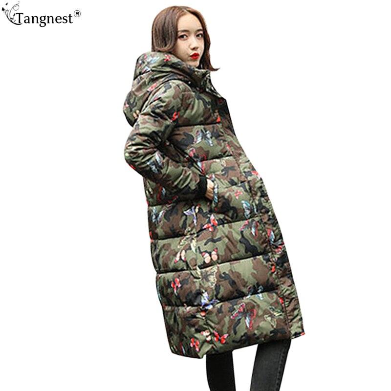 TANGNEST Plus Size Winter Coat 2017 Autumn 23Color Camouflage Jacket Coats Women Warm Long Cotton Parkas Casaco Feminino WWM1629Îäåæäà è àêñåññóàðû<br><br>