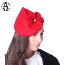 FS Women Charming Wool Classic Pillbox Hat Red Flower Fashion Elegant Ladies Cocktail Party Wedding Church Fedoras(China)