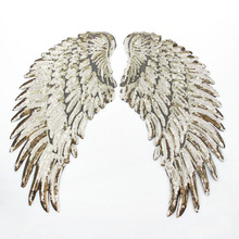 2017 Embroidery Sequins Patch Clothing Gold&Silver Angel Wings Iron On Patches Punk Motif Applique DIY Cloth Accessory Stickers(China)