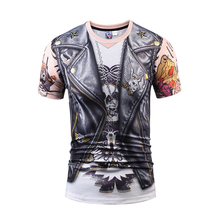 Europe America Men/Women Fake Two Pieces 3d T-shirt Jeans Tops Eagle Wolf T Shirt Summer Tops Tees Shirts Print Funny T-shirts