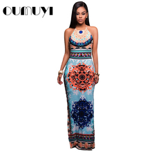 2017 OUMUYI Fashion Women Maxi Dresses Summer Party Light Blue African Pattern Low Back Halter Sheath Boho Dress Vestidos Longos