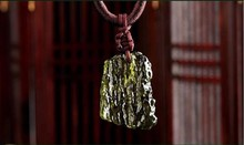 Hot Sale A++ Natural Moldavite green aerolites crystal stone pendant energy 4g-6g/ lot+ free rope Unique Necklace(China)
