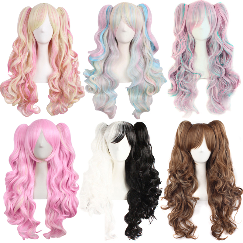 Mapofbeauty Cosplay Wig Synthetic-Hair Two-Ponytails Heat-Resistant Wavy Pink Ombre Purple title=