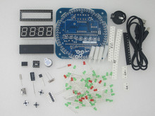 51 mcu rotating led electronic clock kit diy parts ds1302 clock 18b20 electronic kit