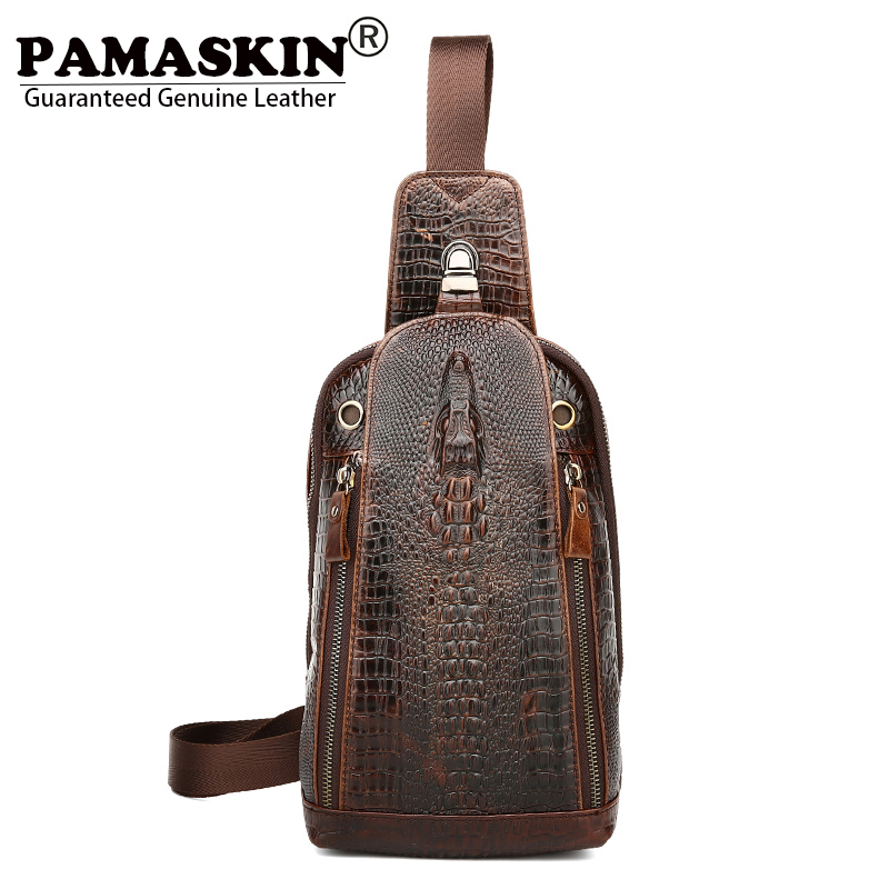 PAMASKIN Alligator Grain Crocodile Head Men Cross-body Bags 2017 New Arrivals 100% Cow Leather Men Messenger Bags Chest Bags Hot<br>