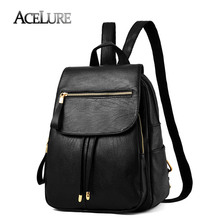 ACELURE Casual Women PU Leather Backpack Brand Luxury Students Schoolbag for Teenage Girls Backpack Solid Black Travel Back Bag(China)