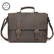 Men Cow Crazy Horse genuine leather bag messenger Bag Man Briefcase Shoulder Bag Business Tote Briefcases Brand Travel Handbags(China)