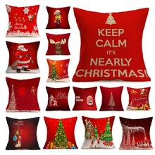 1 Pc Christmas pillow Cover Xmas Ambience Square Pillow Case Holiday Flax Home Christmas Gifts s4(China)