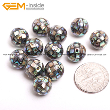 Natural Abalone Shell Ball Beads For Jewelry Making 12pcs/lot DIY Jewellery FreeShipping Wholesale Gem-inside(China)