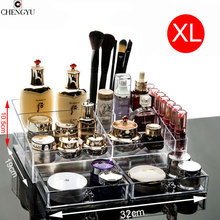 Big Space Simple Transparent Makeup Organizer Desktop Dresser Drawer Style Skin Care Lipstick Cosmetic Box 32*19*10.5cm(China)