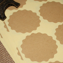 DHL 5000Pcs/Lot 3.8cm Round Scalloped Kraft Paper Sealing Label DIY Blank Gift Baking Decoration Seal Sticker Adhesive Tag