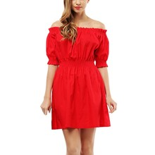 Buy 2017 Apparel Ruffles slash neck women dress Summer style shoulder sexy dresses vestido Red tube beach dress for $9.48 in AliExpress store