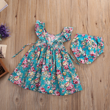 Summer Infant Children Girl Clothing Set Cap Sleeve Dress + Shorts Sundress Floral Kids Girl Clothes Set