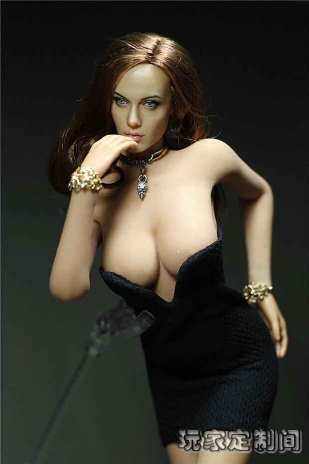 Sexy Dress Custom 1/6 Deep V Black Dress Mini Short Skirt for Female  PHICEN Seamless Body Large/Medium Bust PHICEN Doll Toys<br>