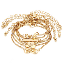6Pcs/lot Fashion Gold Bracelet Female Bracelets Set Heart Charm Bracelets Party Jewelry For Women