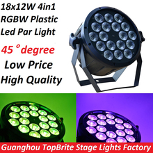 2016 Led Par Light 18x12W 4in1 RGBW Flat Plastic LED Par Can Disco Lamp Stage Lights Luces Discoteca Laser Beam Luz de Projector(China)