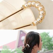 YouMap Gold U shape Pearl Hair Sticks Clip Vintage Hair Pins Wedding Accessories Crystal Bridal Head Piece A7R27
