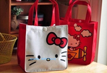 Kawaii Hello Kitty Random Designs Size 20*12CM Handbag ; Reusable Shopping BAG ; FOOD LUNCH BOX BAG Storage Shoulder Satchel Bag