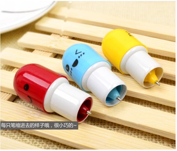 6pc/ lot small gift pen /cartoon face pills retractable pen/ Promotion /capsule pen/creative children student  pen