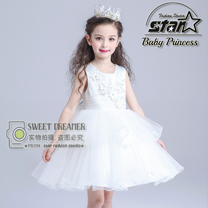 Luxury Royal Wedding Diamonds Vestidos Girls Clothes Kids Dresses For Girls O-NECK Sleeveless Tutu Dress Baby Girl Dress<br>