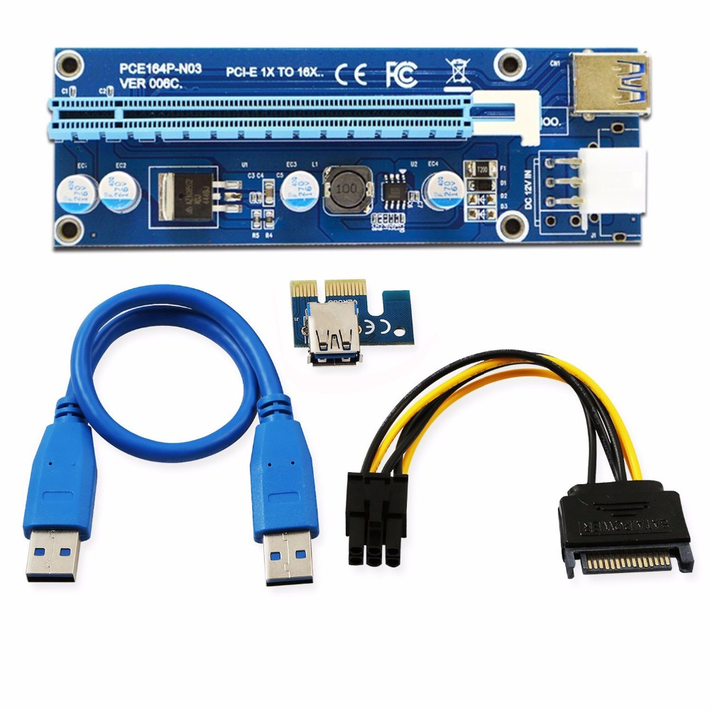 6Pcs 006C PCIe PCI-E PCI Express Riser Card 1x to 16x USB 3.0 Data Cable Adapter SATA to 4Pin IDE Molex 6 pin for Bitcoin Mining<br>