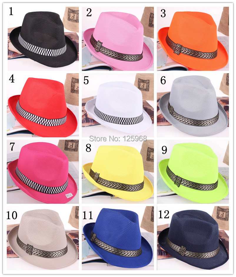 Free Shipping! 2014 New 10pcs/lot Fashion Men/Women Adult Solid Color fedoras cap jazz hat casual hat 12 Colors