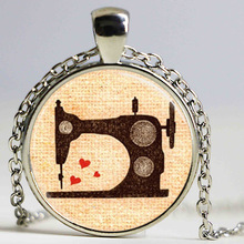 Free shipping Vintage Sewing Machine Jewelry Seamstress Art Pendant Glass cabochon Necklace Sewing Machine Necklace