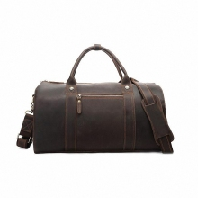 Vintage Crazy Horse Genuine Leather Travel bag men duffle bag luggage travel bag Leather Large Weekend Bag Overnight ToteLI-1218