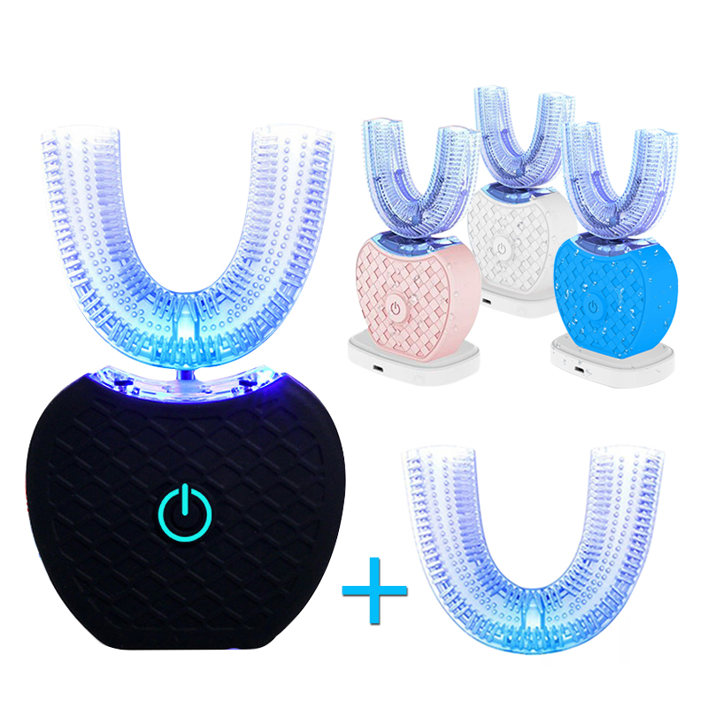 U Shape Automatic Electric Toothbrush Intelligent Sonic Power Toothbrush Teeth Whitening Second Generation Brush Head Replacemen