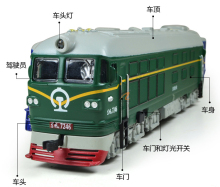 Dongfeng locomotive alloy model light back to the classical green skin model train children's toy car