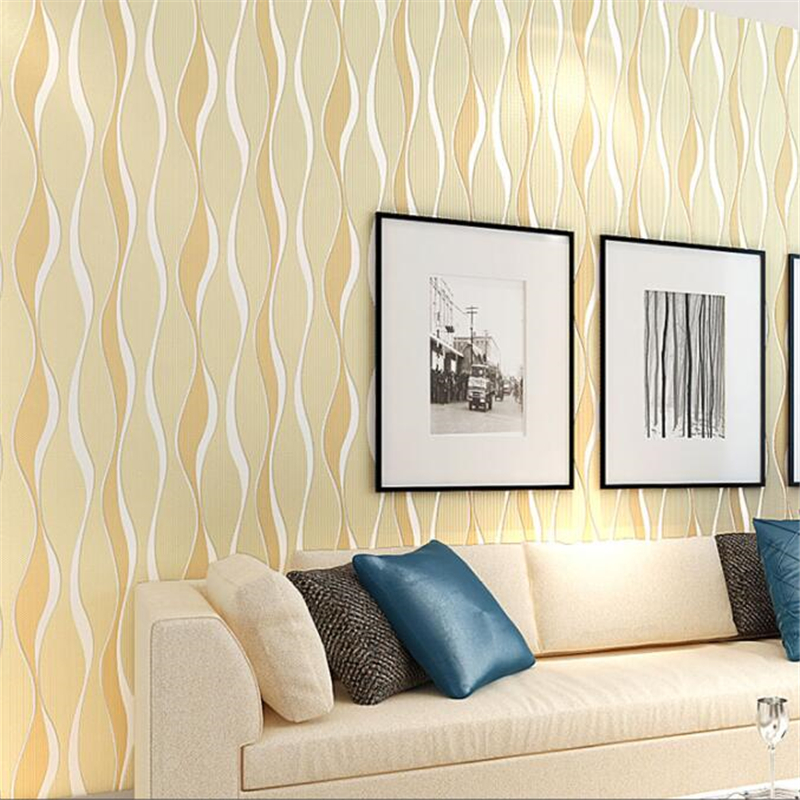 3D embossed wave striped wallpaper yellow pink 10 m wallpaper roll papel de parede para quarto Wallpaper Mural Beibehang<br>