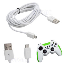 White USB 10ft 3M Micro Power Charging Cable Cord For PS4 Xbox One Controller