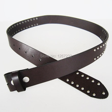 New Nails Studded Dark Coffee Color Genuine Leather Belt Solid Real Leather Belt Gurtel BELT1-006BW(China)