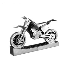 DWOIN  Cross Country Motorcycle DIY Metal 3D Puzzle Laser Cutting Stainless Steel Model Jigsaw Toys Birthday Gift