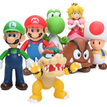 Cheap 8~15cm Bros Bowser Super Mario Koopa Yoshi Mario PVC Action Figures Luigi Donkey Kong Model Dolls Toys Ornament Decoration(China)