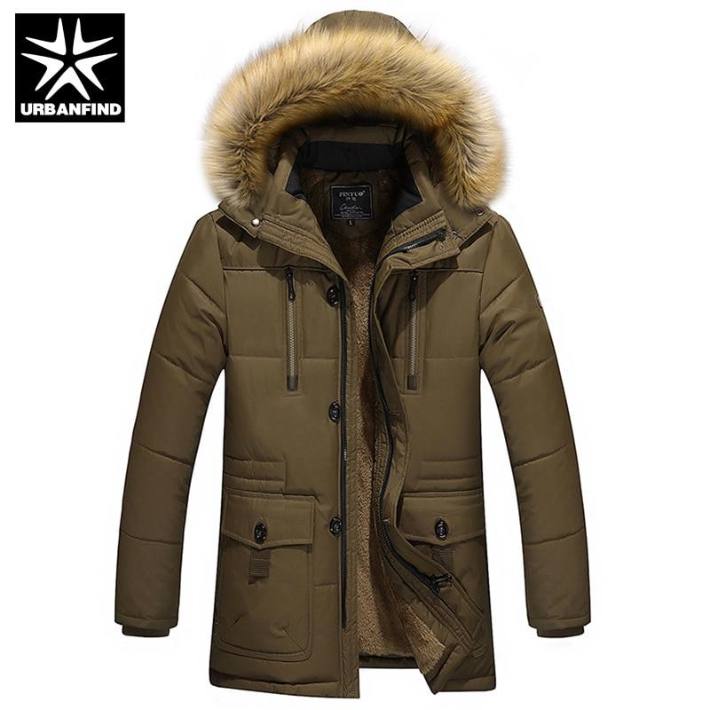 URBANFIND Cotton Padded Men Winter Down Parkas Large Size M-4XL Fur Collar Man Thick Warm Coats OvercoatsОдежда и ак�е��уары<br><br><br>Aliexpress