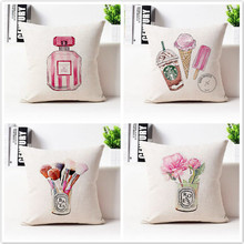 Free shipping/fashion watercolor illustrations perfume lips rose 43 * 43 cotton and linen hold pillow cushion for leaning on no