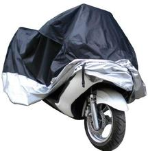 Partol XXL Black Silver Lightweight Polyester Outdoor Motorbike Cover Weatherproof Fade Proof Anti UV For Moto Bikes