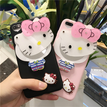 cute hello kitty cat mirror soft cover for apple iphone 6 6s 6P plus 5.5 iPhone7 7P 8 8P X soft Silicone mobile phone Case(China)