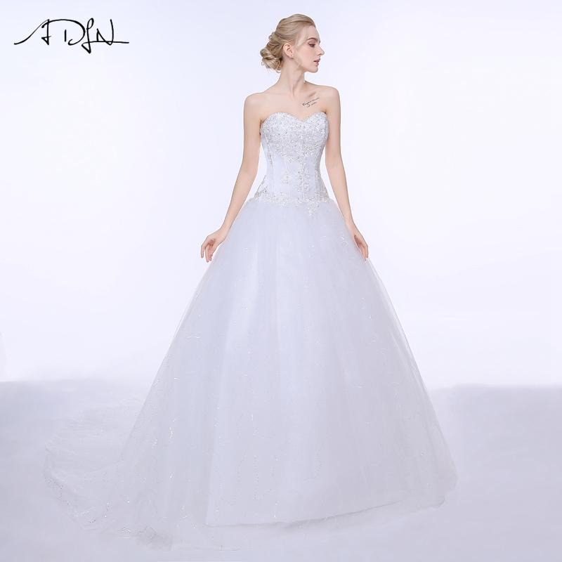 ADLN Wedding Dresses Vestidos de Novia Off the Shoulder Sweetheart Tulle Long Bride Dress Lace Up Back Plus Size In Stock 16