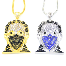New Bling Bling Iced Out Large Size Head pendant Hip hop Necklace Jewelry 36inch Franco chain  N635