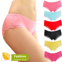 5Pcs/Lot 100% Quality Women's Underwear Bamboo Fiber Women Panties Sexy Lace Ladies lingerie Briefs(China)