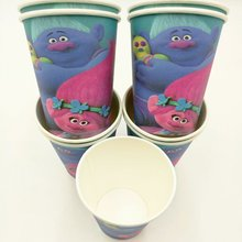 10pcs/set  Trolls Cup Cartoon Theme Party For Children/Girls Happy Birthday Decoration Theme Party Supply Festival