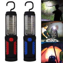 2017 Hot Sale Portable 36+5Led Work Light Red/Blue Camping Emergency Lamp Flashlight W/Magnetic With Hook Stand Battery Powered(China)