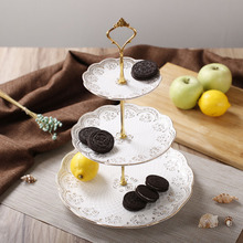 Modern Style Elegant Engraving Bone China Dessert & Fruit Plates Stand with Golden Rose Pattern for Party / Buffet(China)