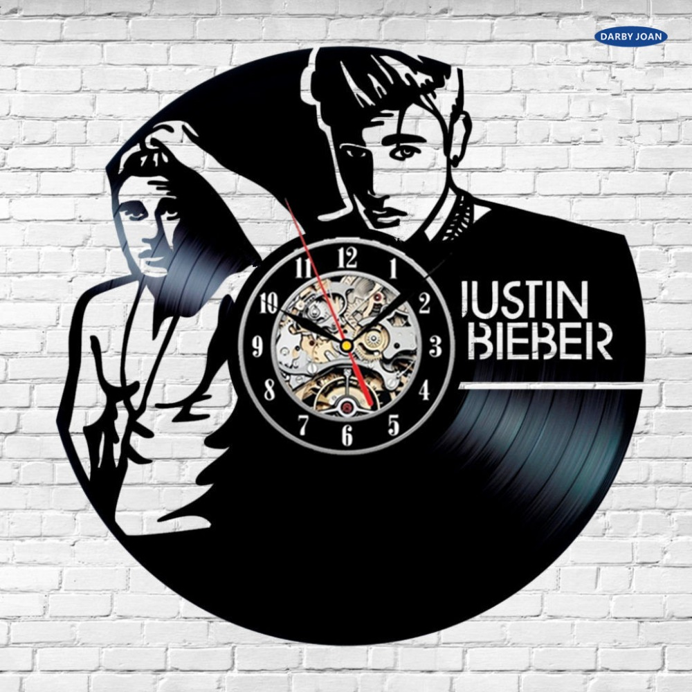 Justin Bieber Lyrics Art LIMITED Vinyl Record Wall Clock LP Home Gift Decor saat dial vision(China (Mainland))
