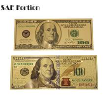 SAE Fortion 2pcs/set 100 Dollar Bills Bank Note Banknotes Gold Plated Fake Currency Money Gold For Gifts Drop Shipping(China)