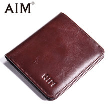 AIM Mens Small Wallet 100% Genuine Leather Men Purse Male Compact Slim Short Wallets For Men Cowhide Card Holder Carteira A292