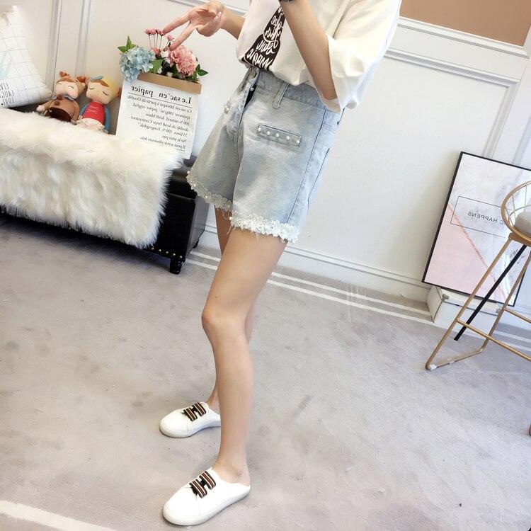 Woman Summer Denim Shorts Light Blue Wash Jeans Short Women Beaded Denim Bottoms Girls Plus Size Street Look Lace Hem Jeans Short 5XL 4XL 3XL XL (8)